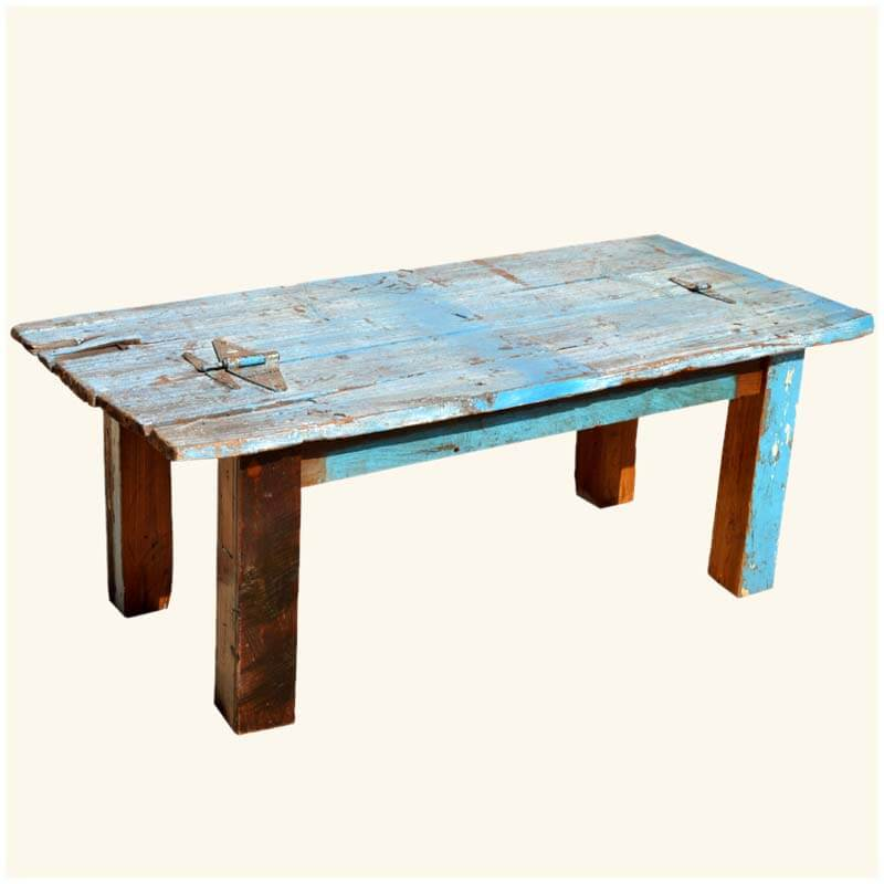 Oklahoma Farmhouse Sky Blue Hinged Reclaimed Wood Table