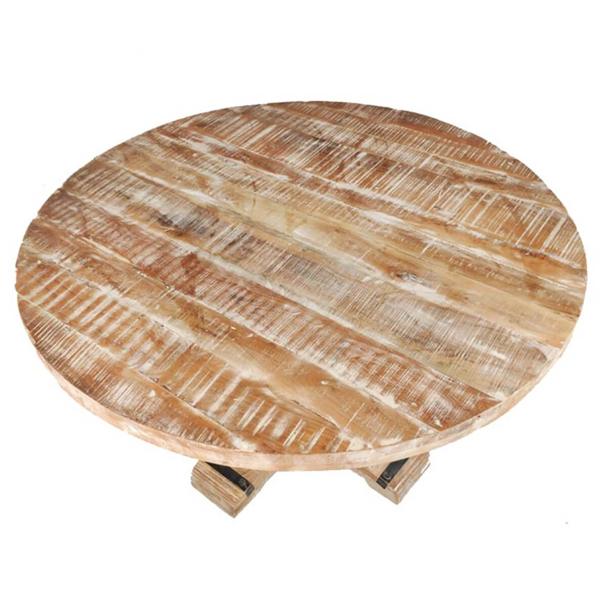 Wood Round Dining Table: Rustic Mango Wood Pedestal Round Dining Table