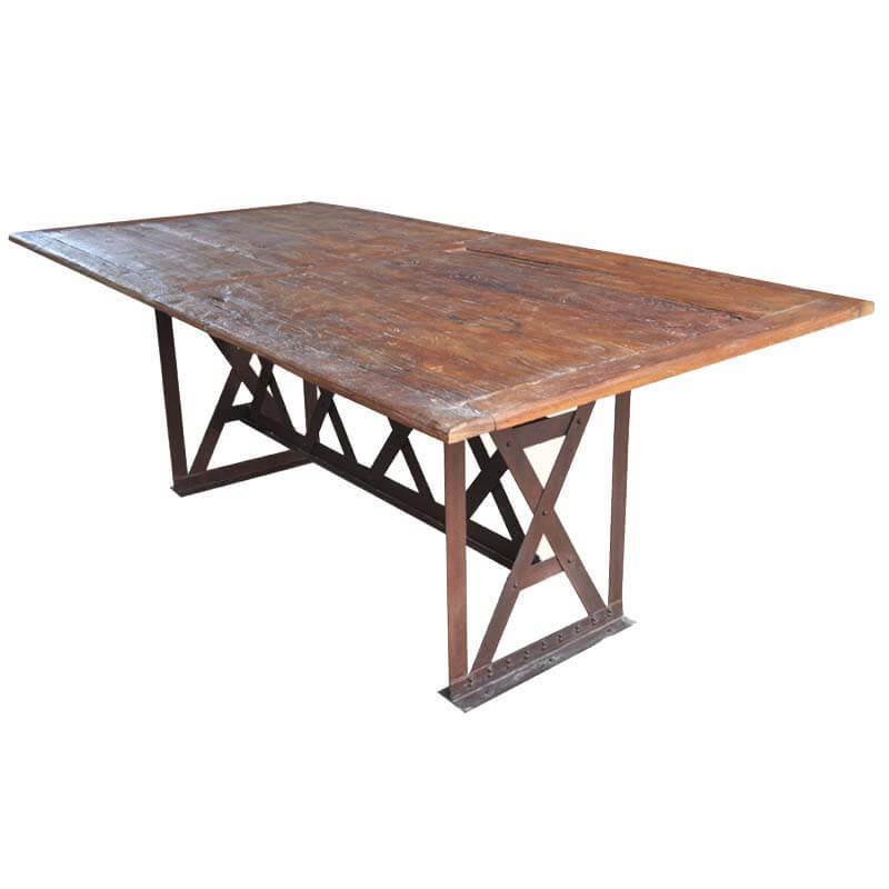 Furniture Rustic Industrial 5 X Wrought Iron Teak Patio Dining Table