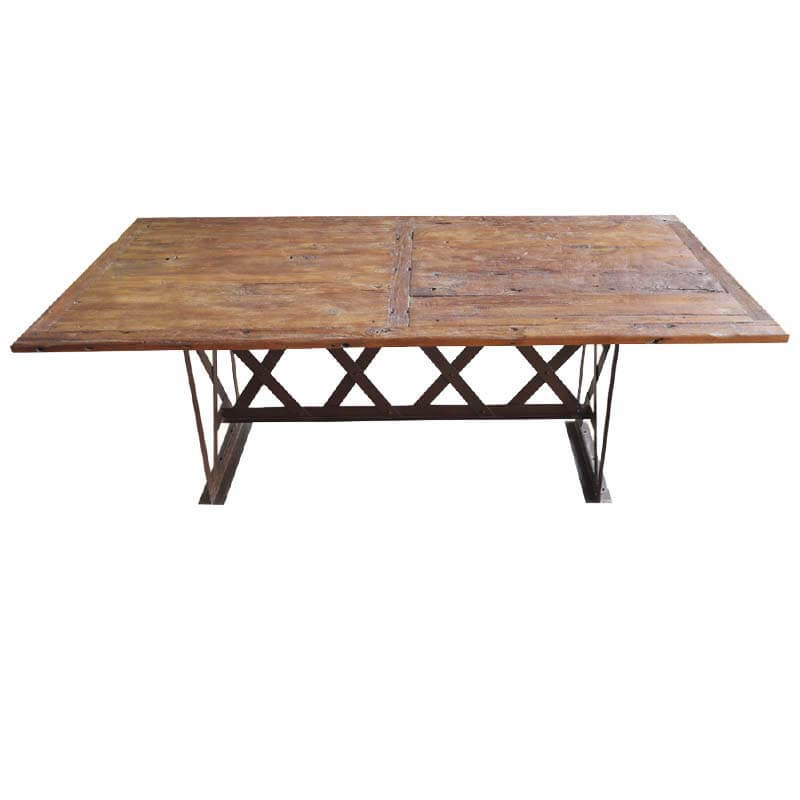 rustic industrial 5 x wrought iron teak patio dining table. Black Bedroom Furniture Sets. Home Design Ideas