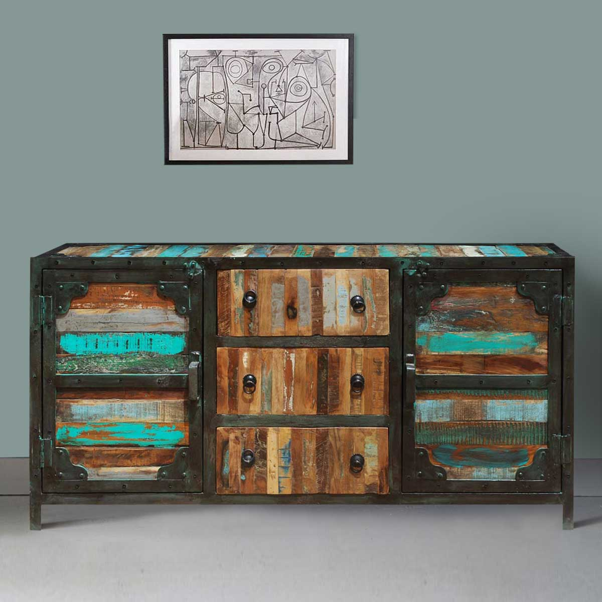 Industrial Rustic Reclaimed Wood 3 Drawer Sideboard Buffet