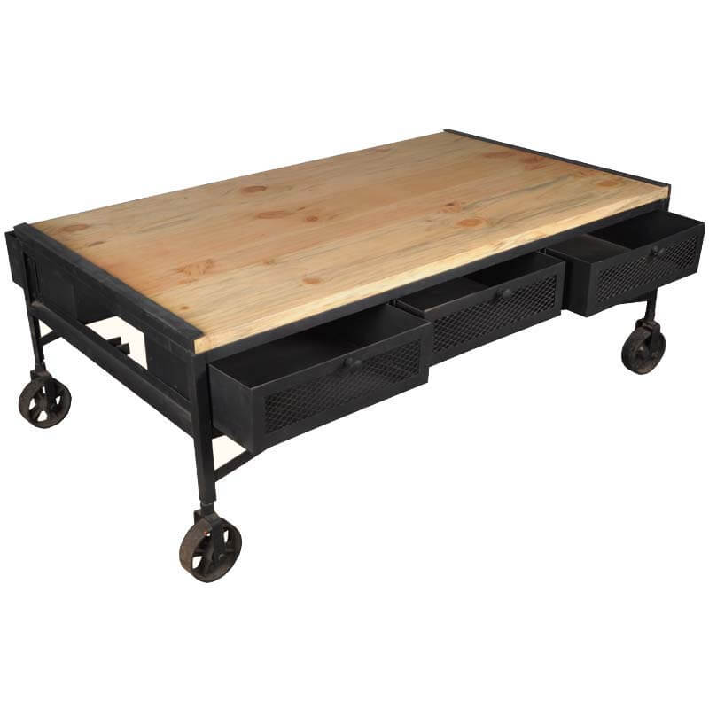 Industrial Iron Tropical Hardwood 6 Drawer Rolling Coffee Table
