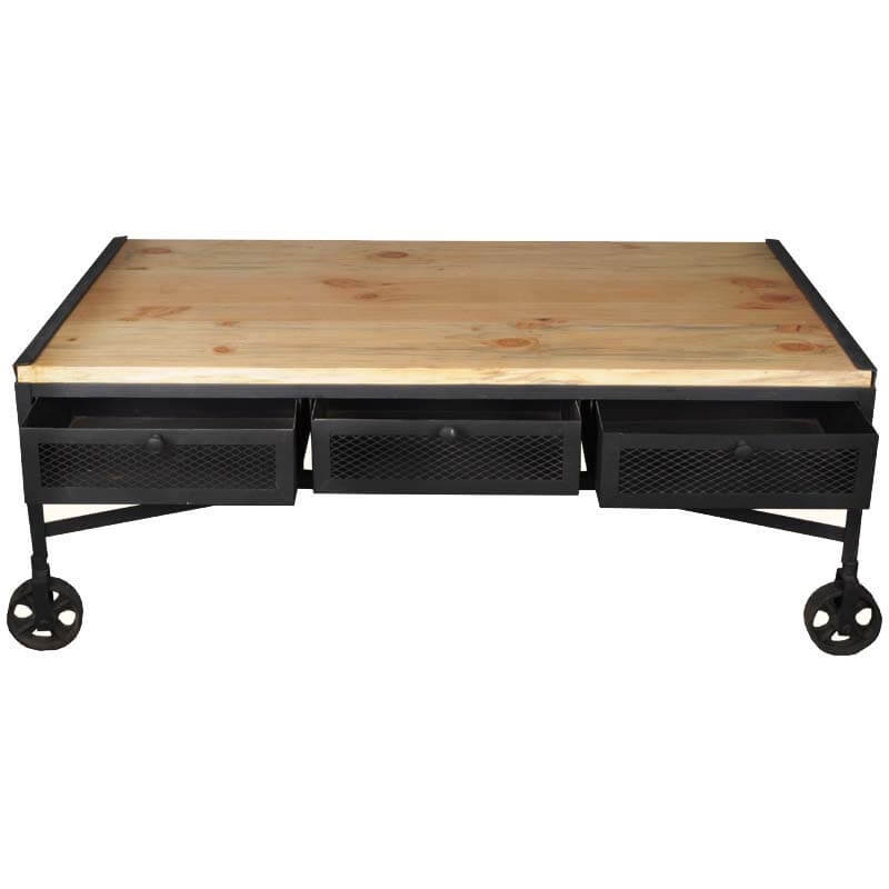 Indore Coffee Table With 6 Drawers: Industrial Iron & Tropical Hardwood 6-Drawer Rolling