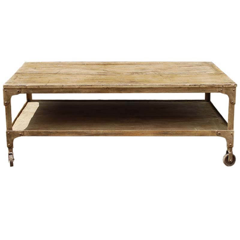 Industrial 2 Tier Reclaimed Wood Iron Rolling Coffee Table
