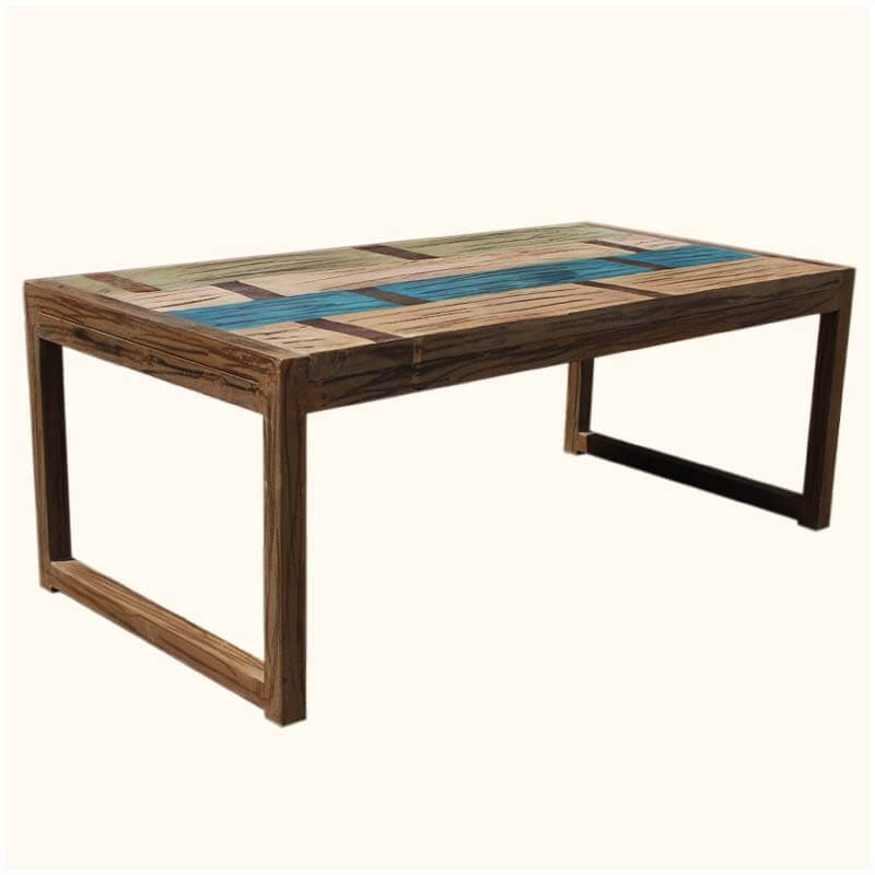 Primitive Hand Painted Solid Mango Wood Coffee Table