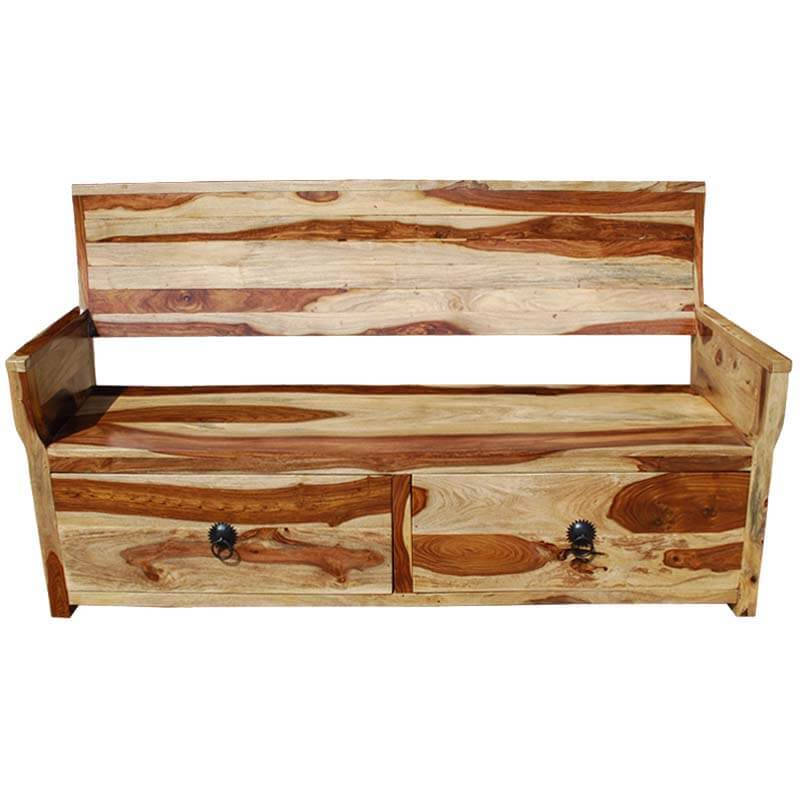 Solid Wood Bench Sofa Couch Storage Chest Furniture: Dallas Ranch Solid Wood Sofa Bench W Storage Drawers