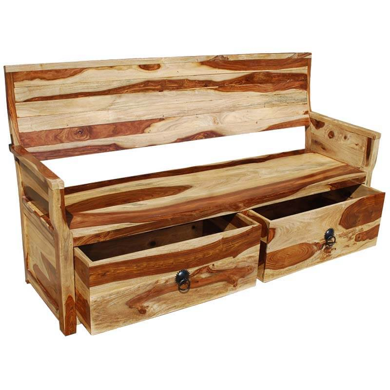 Wood Bench With Drawers ~ Dallas ranch solid wood sofa bench w storage drawers