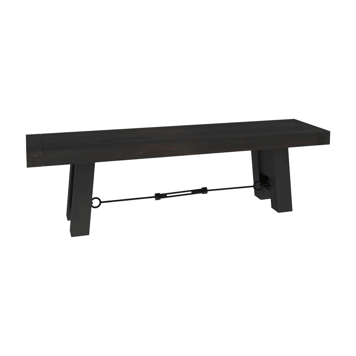 Tirana rustic solid wood and wrought iron dining bench