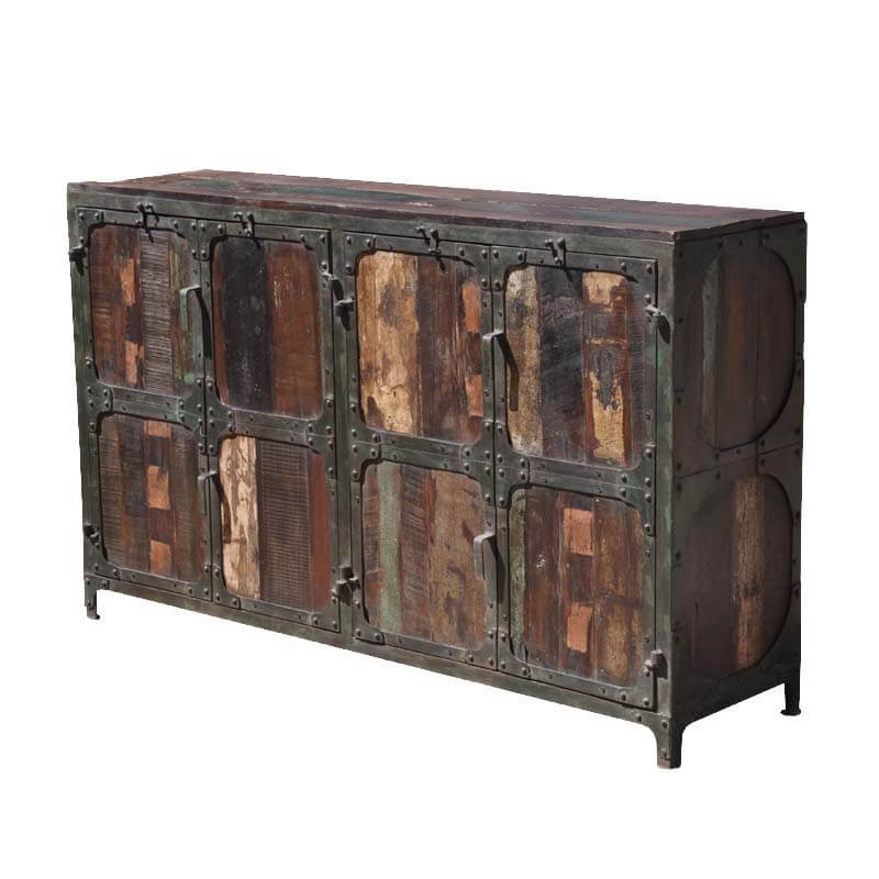 Iron And Wood Buffet ~ Industrial rustic old wood and iron sideboard buffet