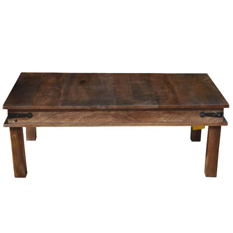 Wooden Espresso Cocktail Coffee Table W Wrought Iron Hinges