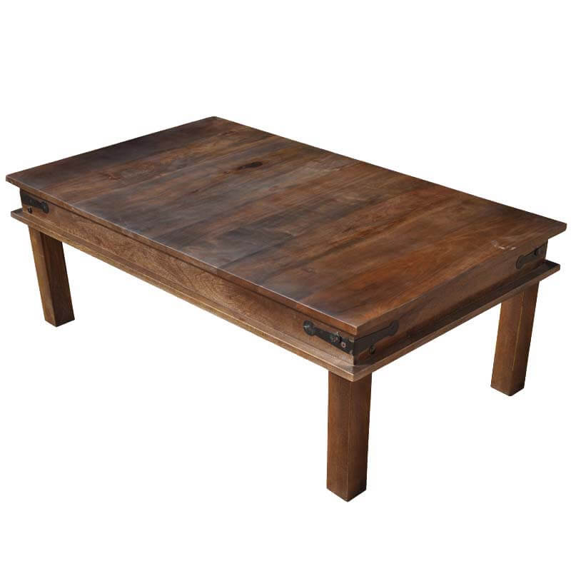 Wooden espresso cocktail coffee table w wrought iron hinges for Wrought iron wood coffee table
