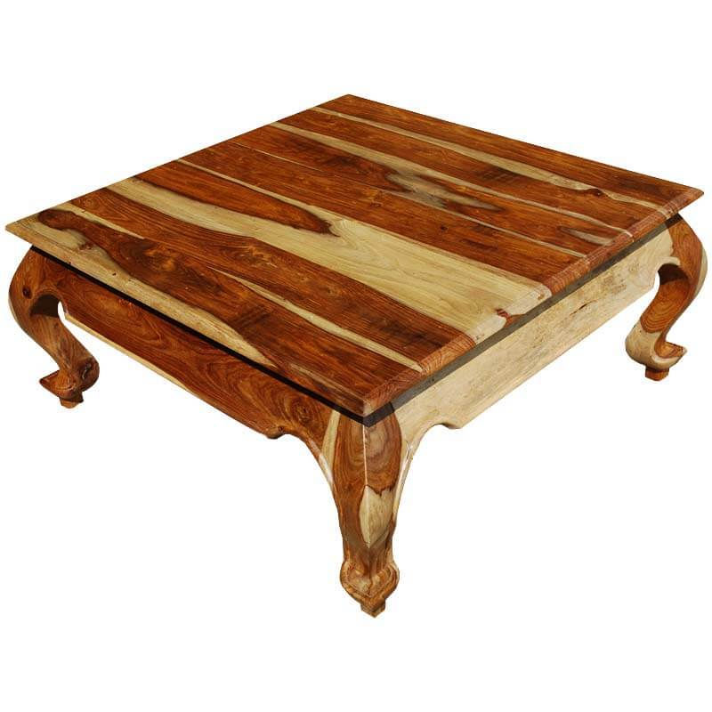 Elegant Square Indian Rosewood Coffee Table W Cabriole Legs