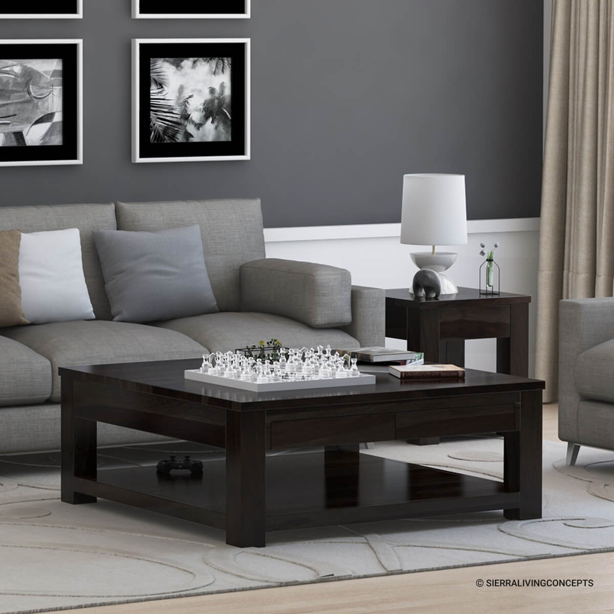 Glencoe contemporary style solid wood large square coffee for Large wood coffee table square