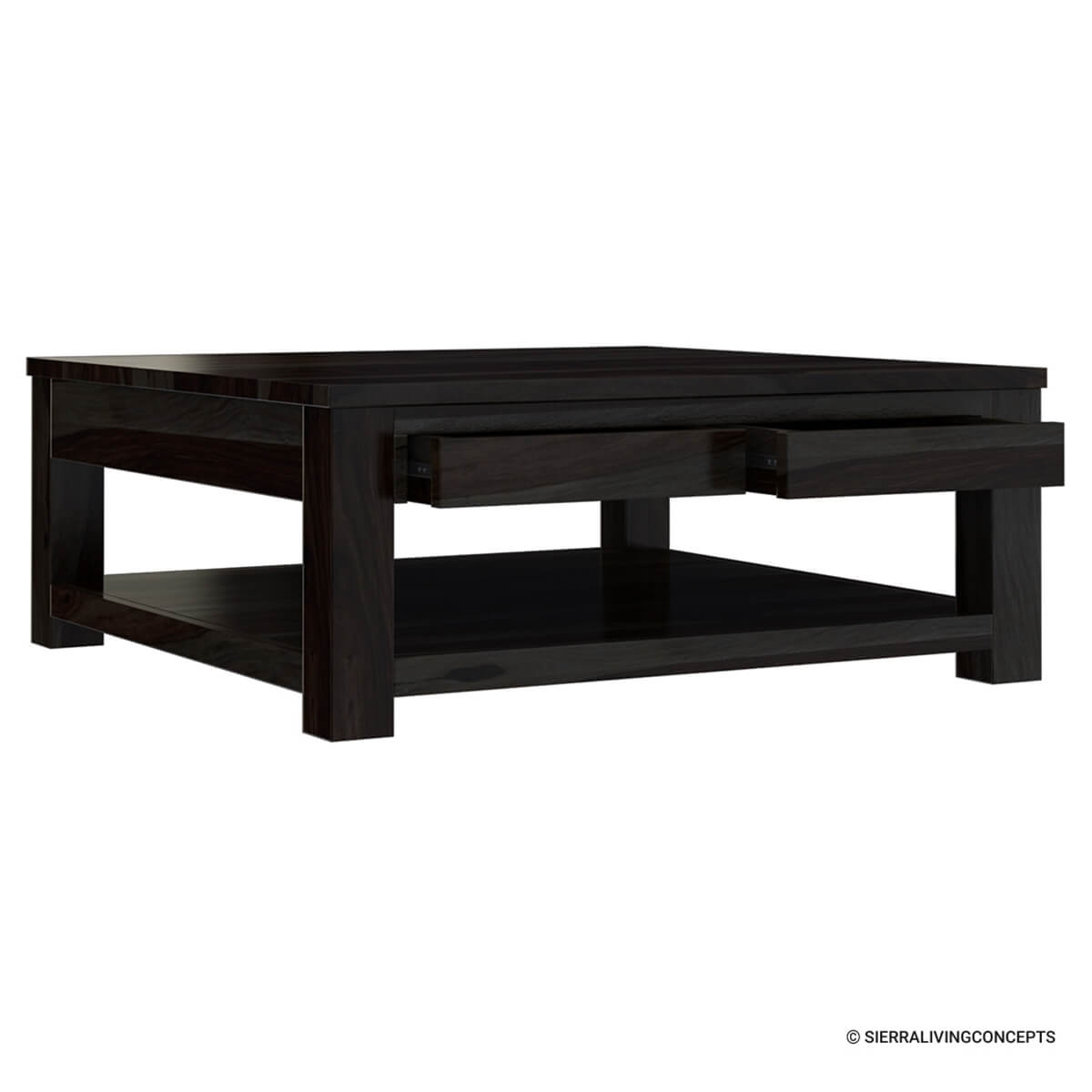 Glencoe contemporary style solid wood large square coffee for Large wooden coffee tables
