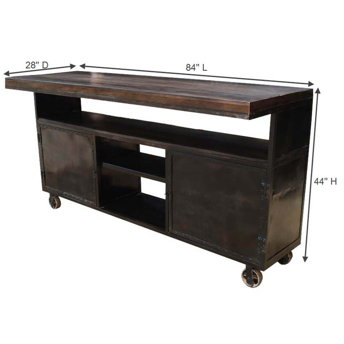 Cabinets Rack Kitchen Island Industrial Mango Iron Rolling St
