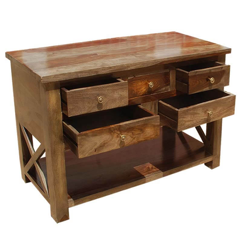 Solid Wood Console Tables With Storage ~ Portland solid wood storage drawer console foyer table