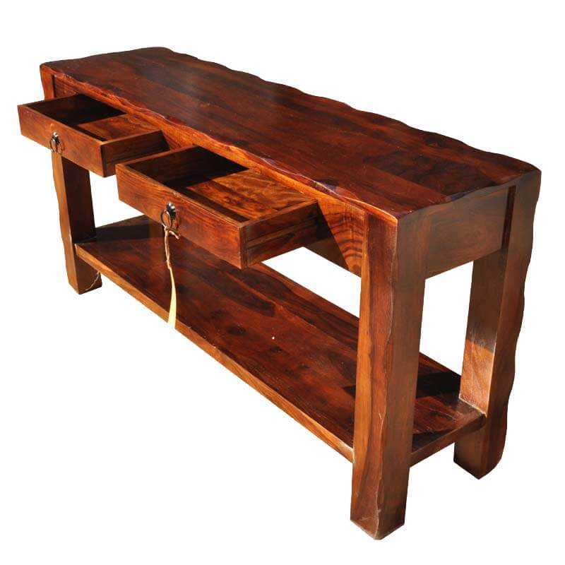 Foyer Console Bench : Appalachian rustic solid wood hall console table with drawers
