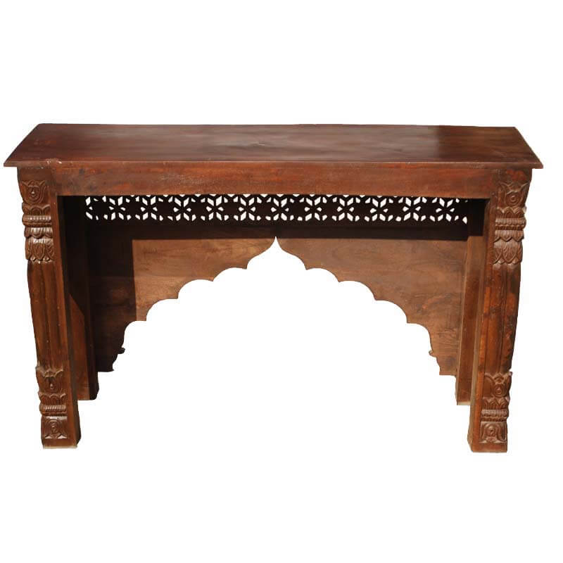 New delhi hand carved palace arch console table