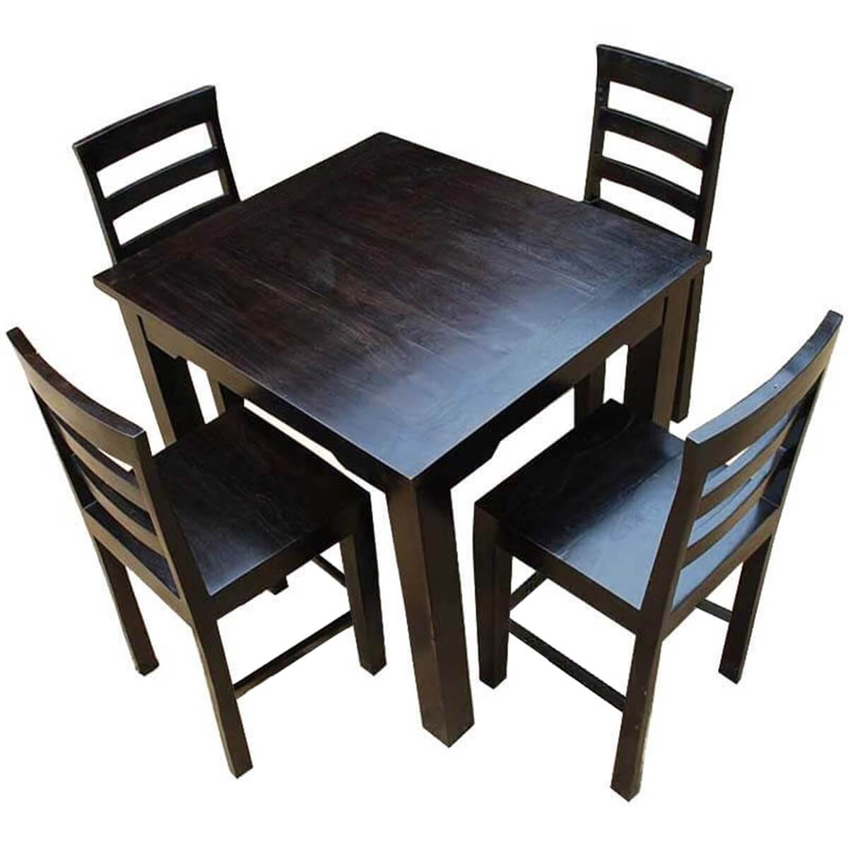 solid wood counter height dining table chairs set for 4 people