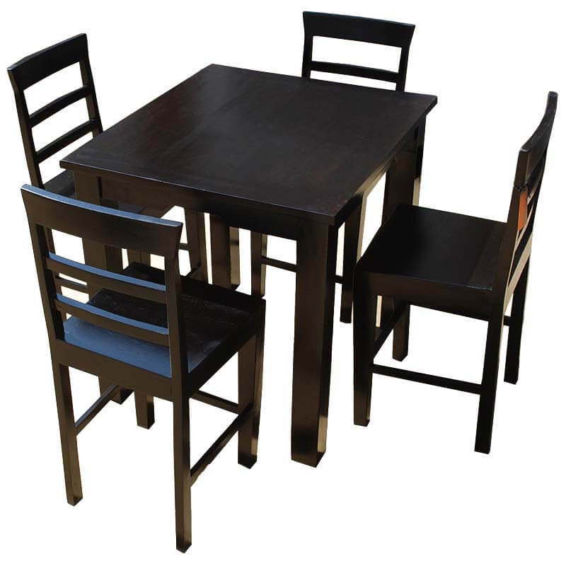Solid wood counter height dining table chairs set for Wood dining table set