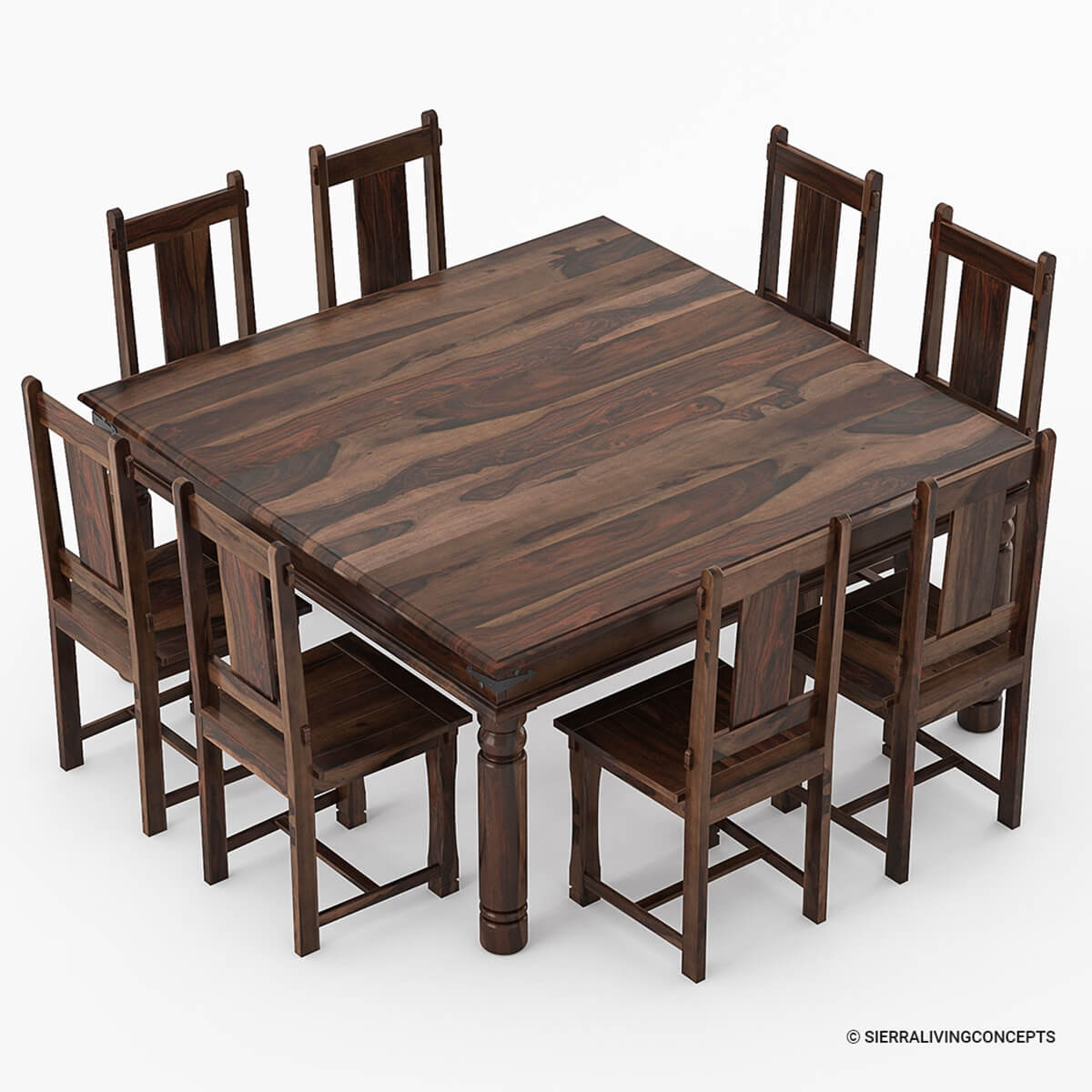 8 Chair Square Dining Table: Richmond Rustic Solid Wood Large Square Dining Room Table Chair Set