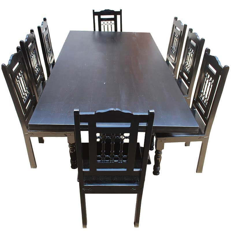 nottingham trestle pedestal rectangular wood dining table chair set