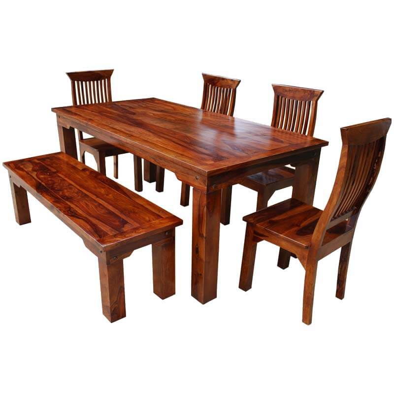 Rustic solid wood casual dining table chair set w bench for Solid wood dining table sets