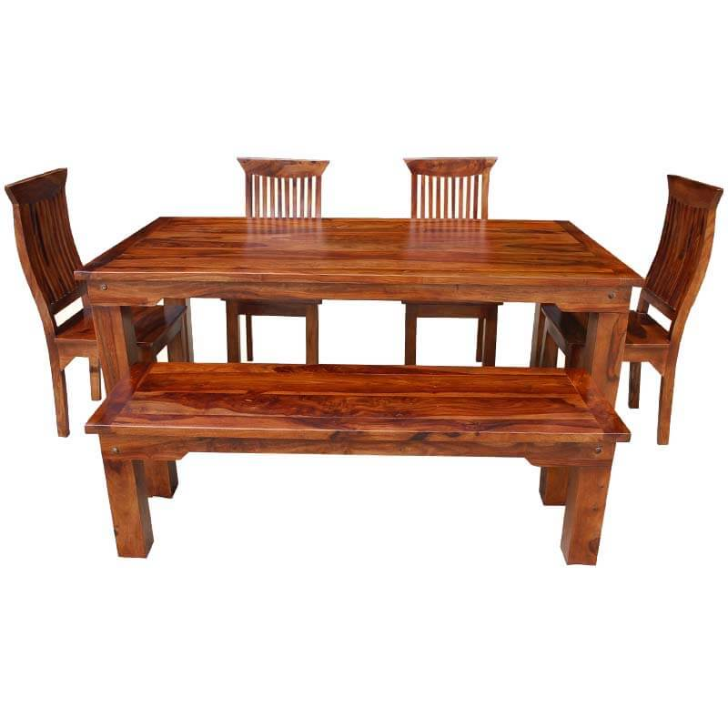 and chair sets rustic solid wood casual dining table chair set w bench