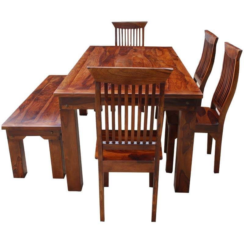 Kitchen Tables With Benches And Chairs Table Wood: Rustic Solid Wood Casual Dining Table Chair Set W Bench