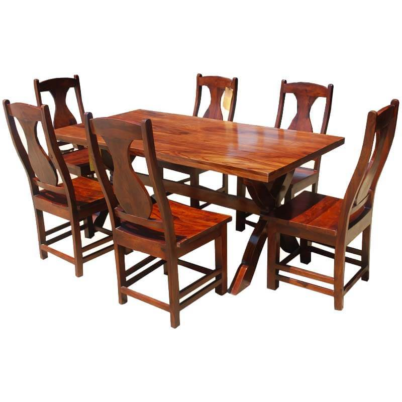 7 piece solid wood double pedestal dining table and chair set for Solid wood dining table sets