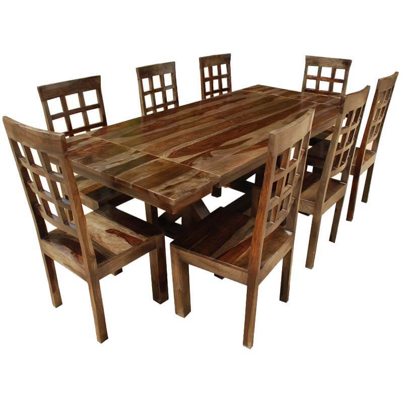 Rustic hardwood double x pedestal extension dining table for Dining room table and chair sets