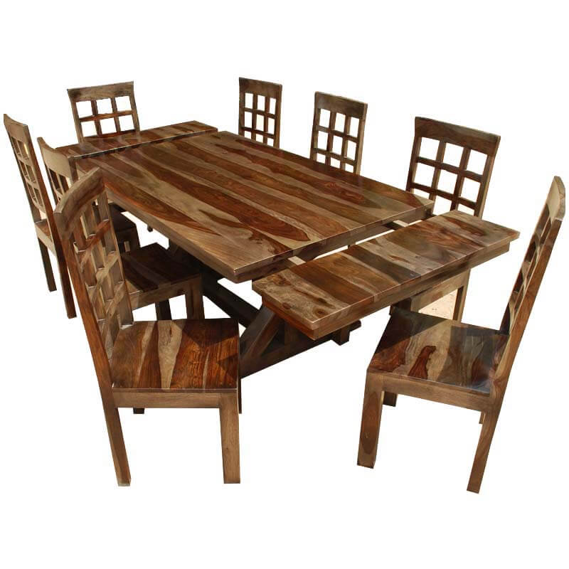rustic hardwood double x pedestal dining room table and