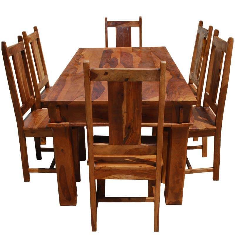 7 pc Appalachian Rustic Solid Wood Butcher Block Table & Chairs Set