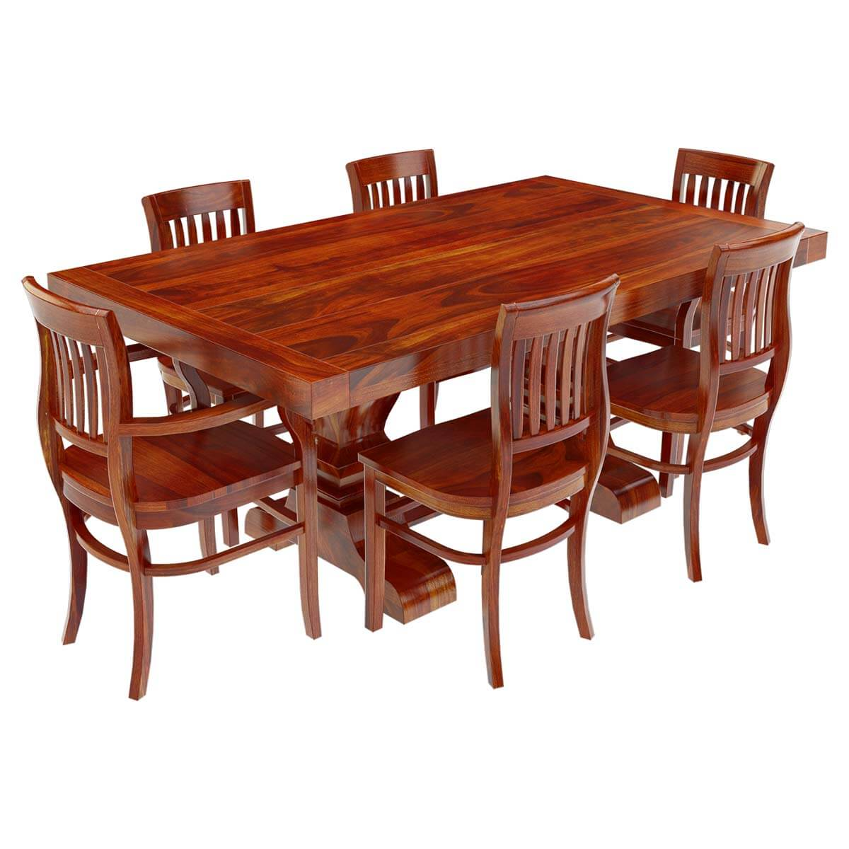 Solid wood 7 piece trestle pedestal dining table barrel for Solid wood dining table sets