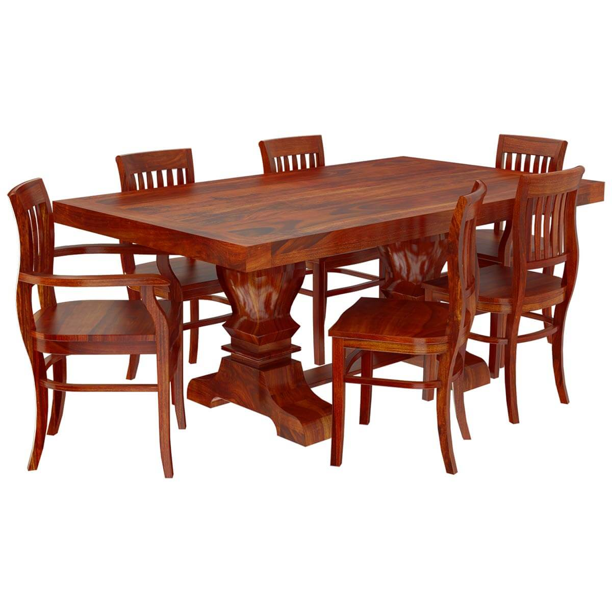 Solid wood 7 piece trestle pedestal dining table barrel for Wood dining table set