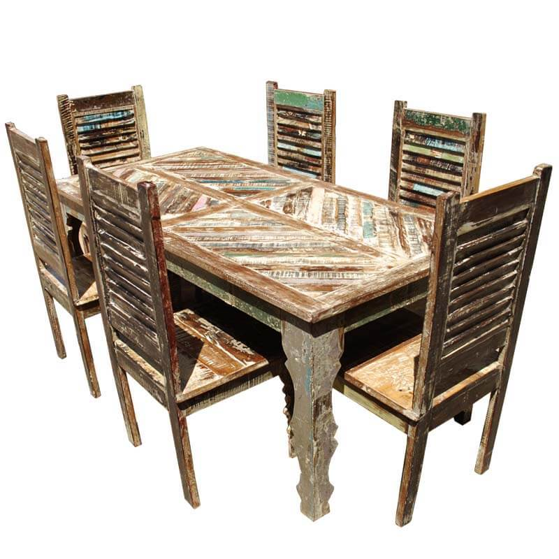 Tucson rainbow reclaimed wood dining table shutter back for Wood dining table set