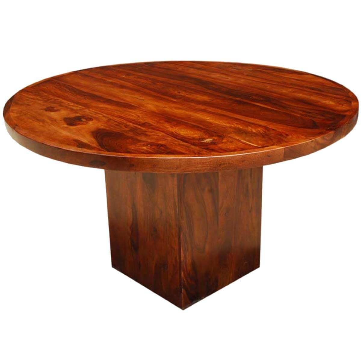 Solid wood rustic round dining table w square pedestal for Solid wood dining table