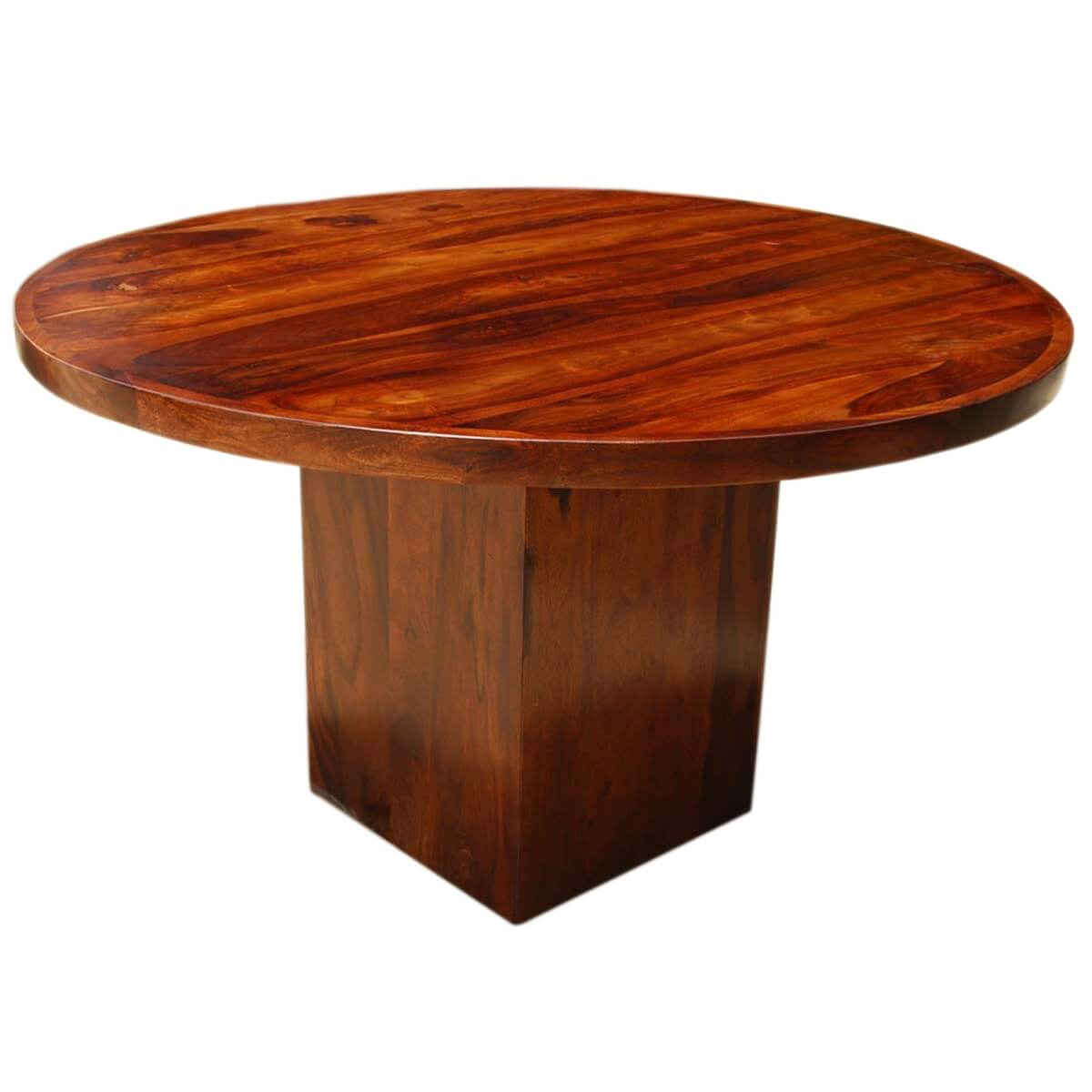 Wood Round Dining Table: Solid Wood Rustic Round Dining Table W Square Pedestal