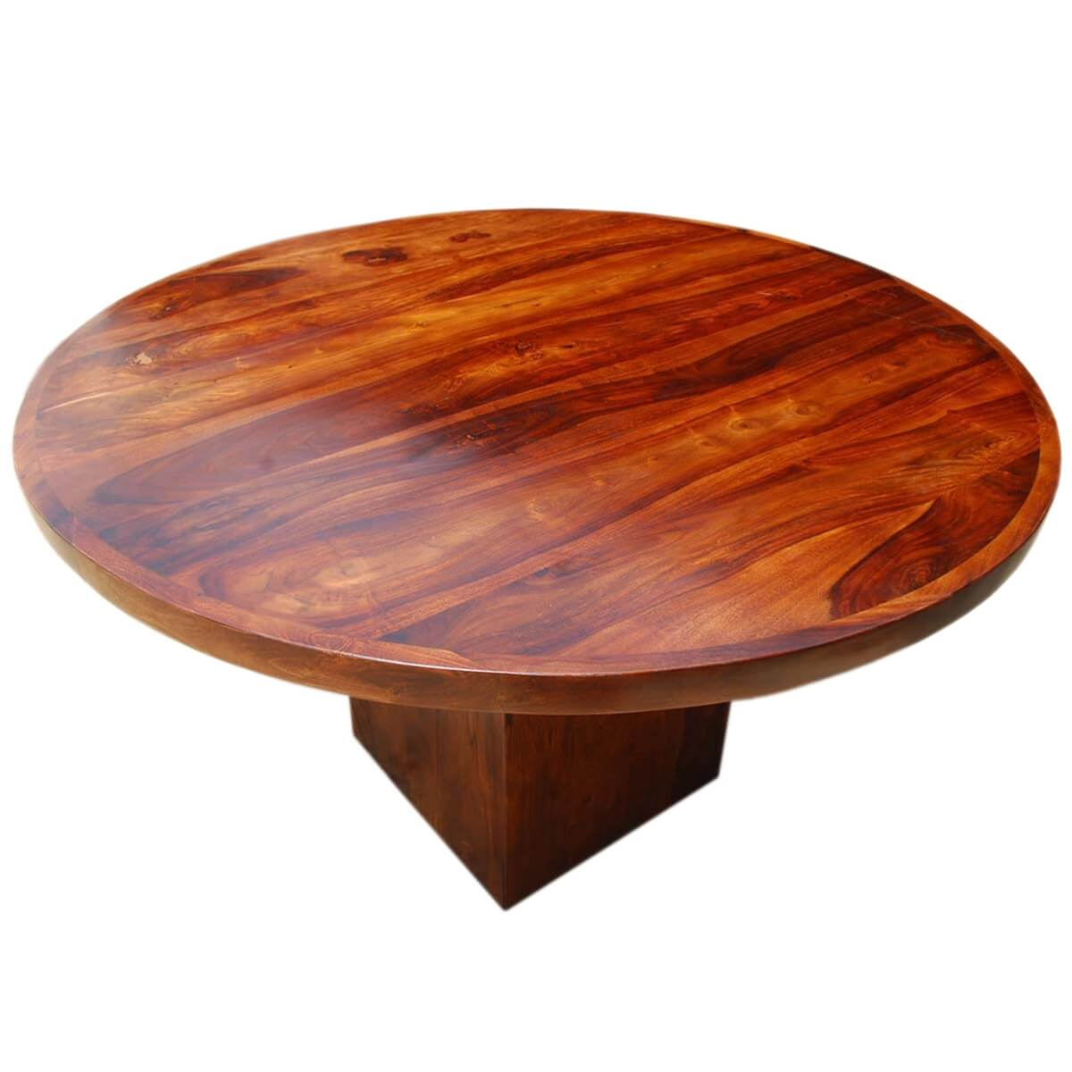 contemporary solid wood rustic round dining table w square pedestal