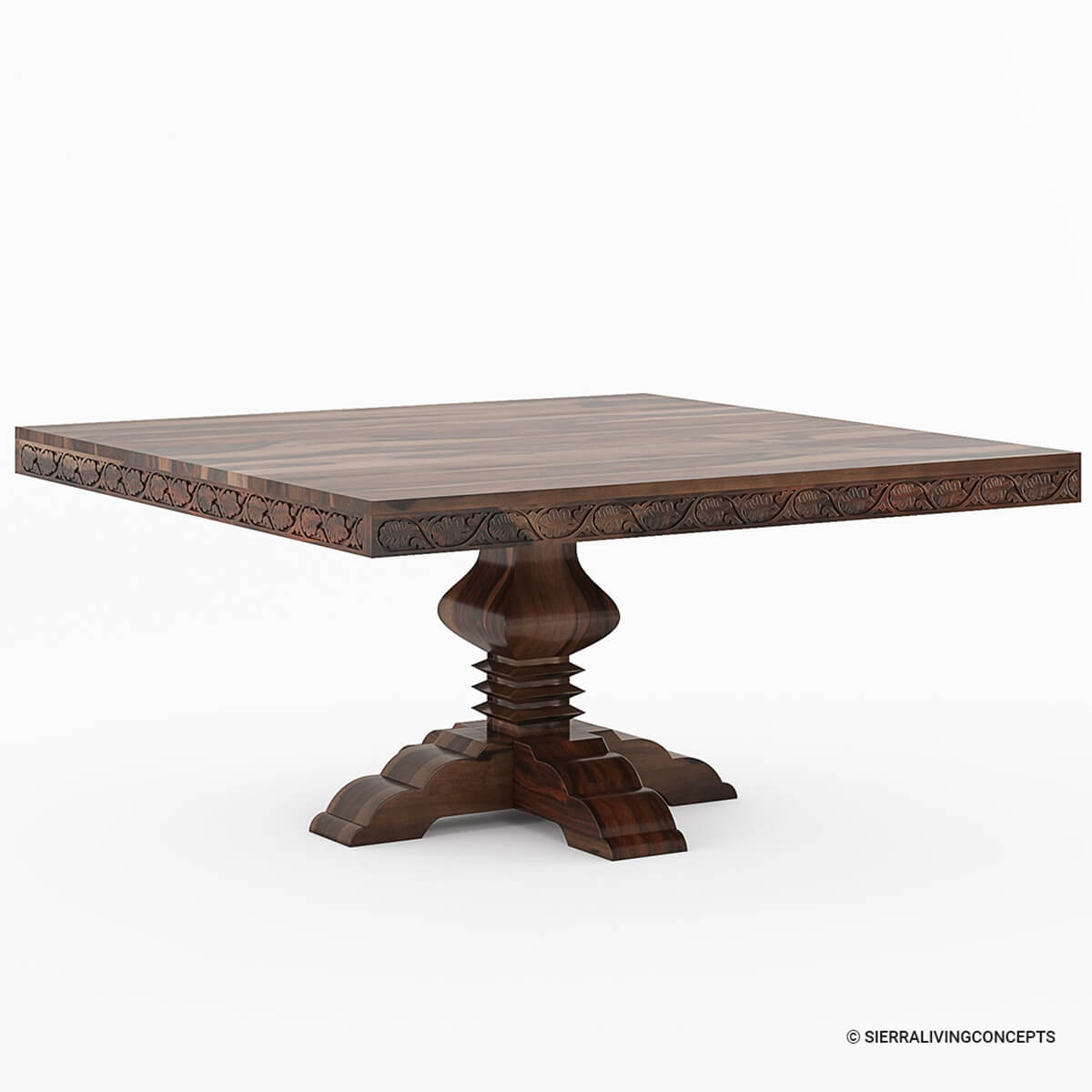rustic solid wood handcarved pedestal square dining table