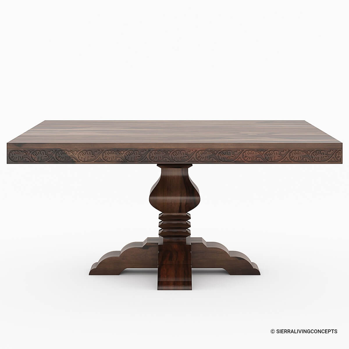 Florida rustic solid wood handcarved pedestal square for Pedestal dining table