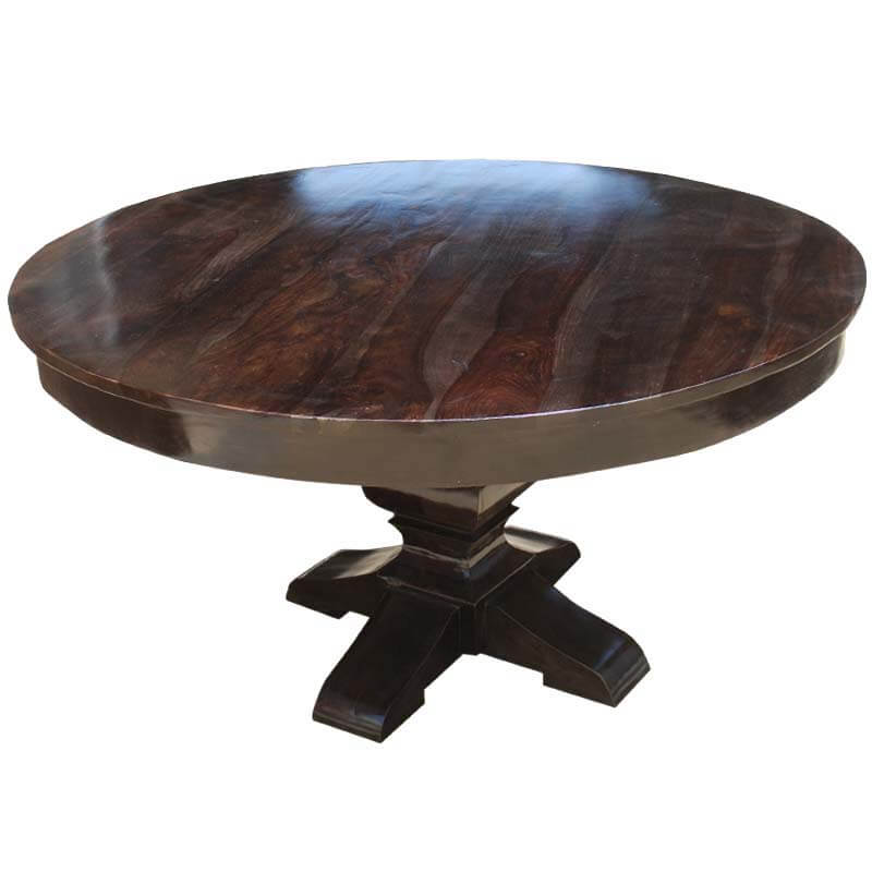 Round rustic solid wood dining table pedestal style for Solid wood round tables dining