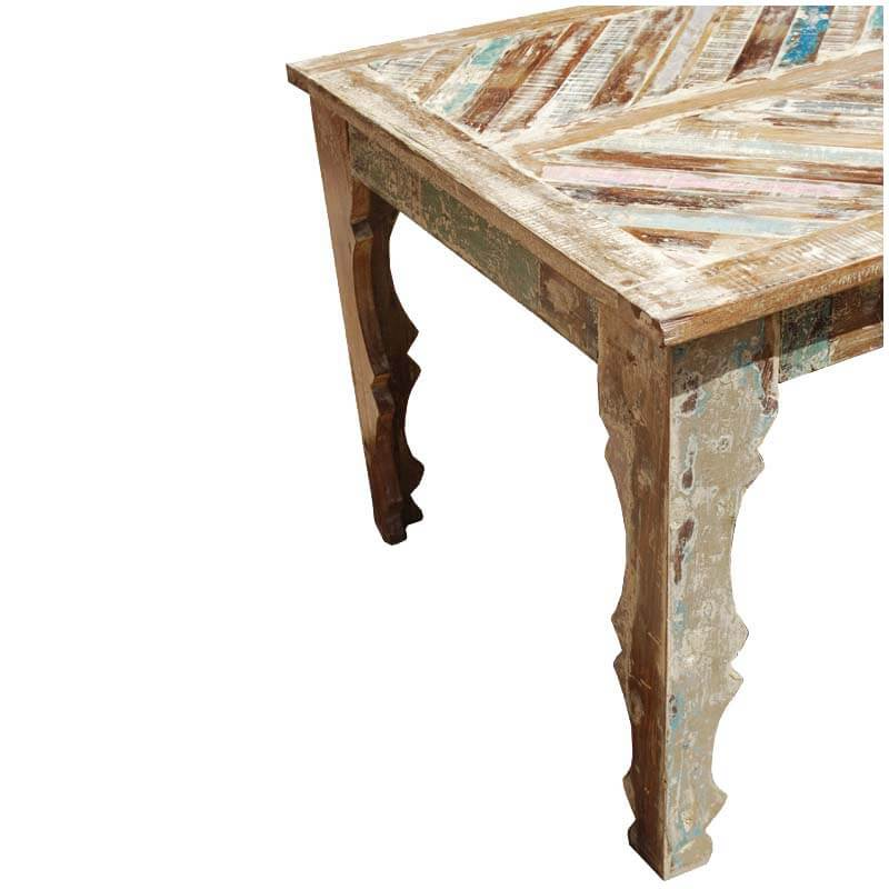 Tucson rainbow rustic reclaimed wood parquet top dining table Rustic wood dining table