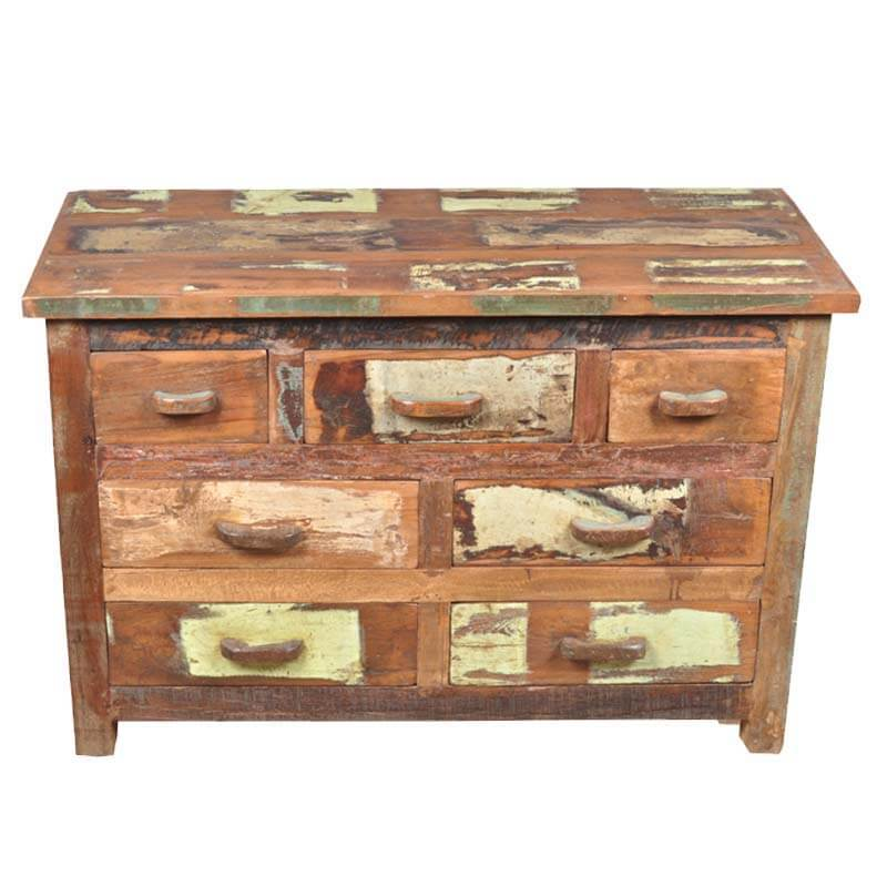 santa fe rustic patch work wood 7 drawer chest