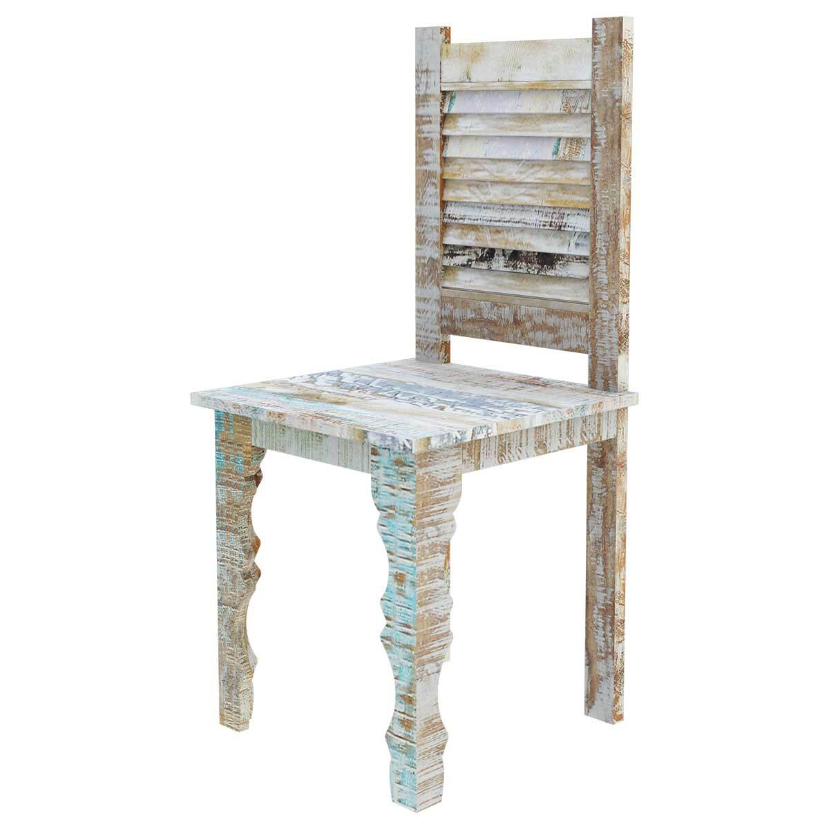 Oklahoma Rustic Reclaimed Wood Shutter Back Dining Chair Set Of 2