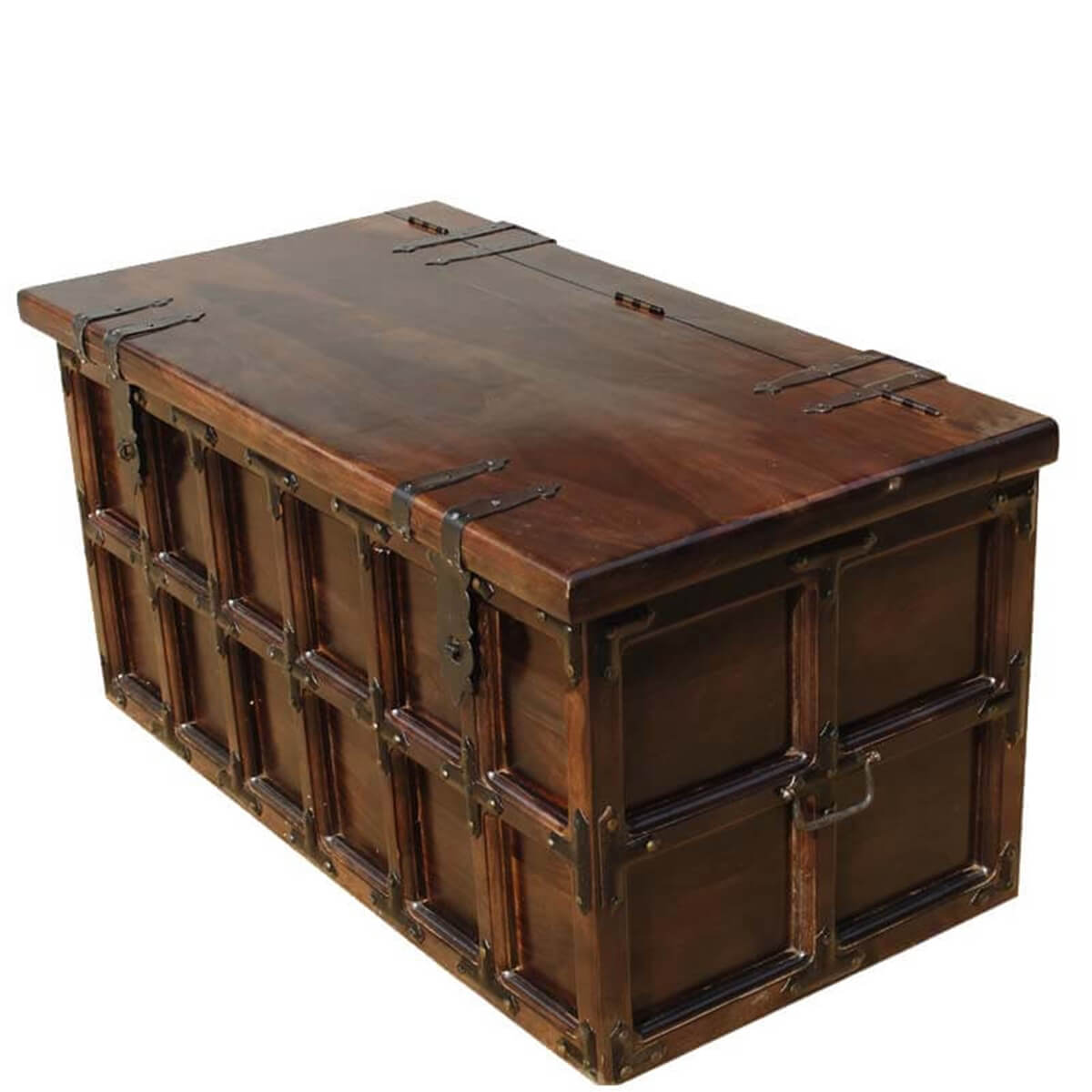 Kokanee beaufort primitive solid wood iron coffee table trunk Trunk coffee tables
