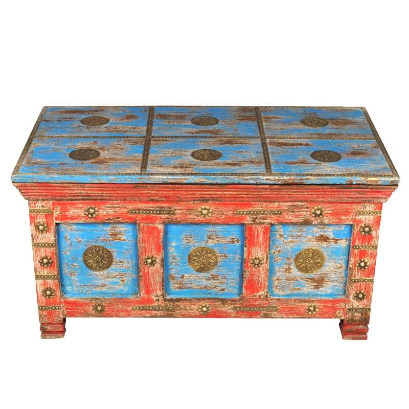 Rustic Reclaimed Mango Wood Distressed Painted Coffee Table Storage Trunk Chest