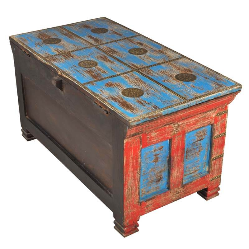 Mango Wood Distressed Painted Coffee Table Storage Trunk Chest