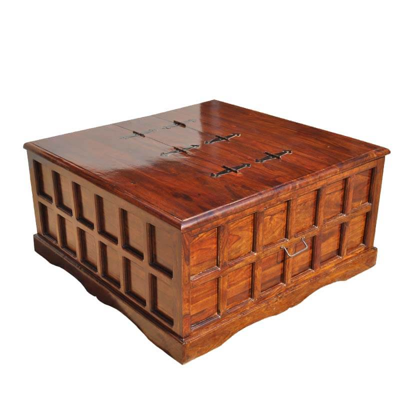 Beaufort solid wood square coffee cocktail table storage trunk chest Wood square coffee tables