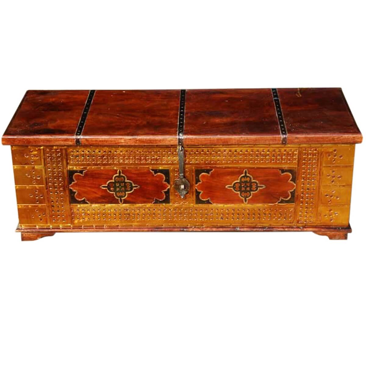 Unique Handmade Solid Wood Brass Coffee Table Storage Chest